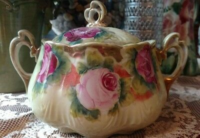 Vintage porcelain cracker bisquit jar hand painted. Gorgeous Shabby Chic jewelry