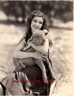 Very rare early vintage Loretta Young photo with lamb 1920's