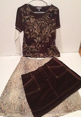 Brown 3 Piece Skirt and Top Set Size 16 Extra Large (XL)