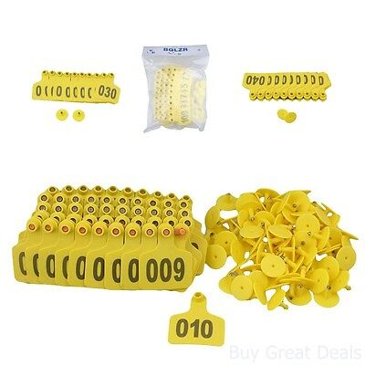 Yellow 1-100 Number Plastic Large Livestock Ear Tag Fit Cow Cattle Pack 100-Ct