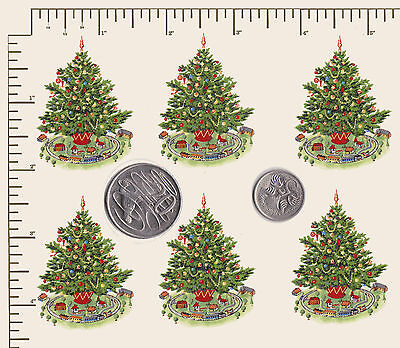 "6 x Waterslide ceramic decals Decoupage Christmas Tree Approx. 2"" x 1 1/2"" (PD42"
