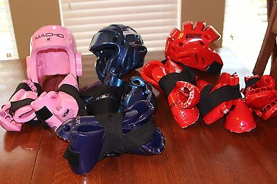 Huge lot of karate sparring gear - child M to adult M sizes! Save big!