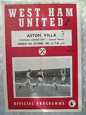 1961 WEST HAM UNITED v ASTON VILLA, 9th Oct (League CUP 2nd RD)