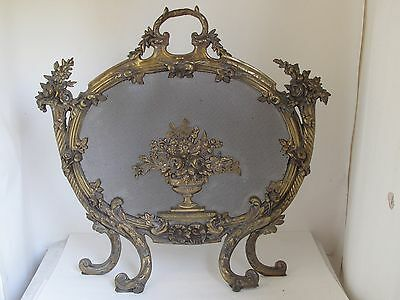 Antique French Brass Fire Screen with Urn of Flowers