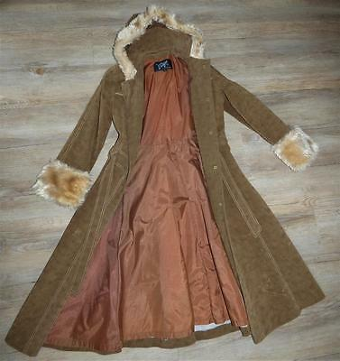 VINTAGE 70s faux suede FUR trim HOODED TRENCH COAT 8 10 w BELT hippie boho glam