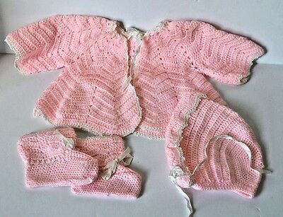 Vintage Baby Doll Clothes Crochet Set Jacket Bonnet and Booties