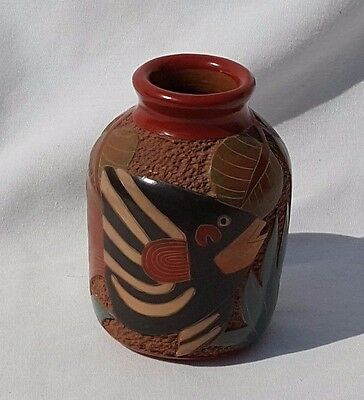 Roger Calero Small Vase Fish w/Underwater Foliage Carved Pottery--Beautiful
