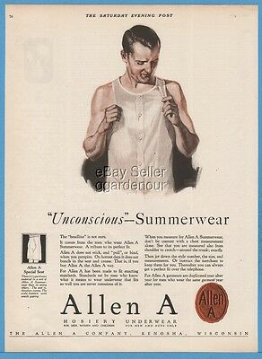 1924 Allen A Co Kenosha WI Men's Underwear Vintage 1920s Clothing Summerwear Ad
