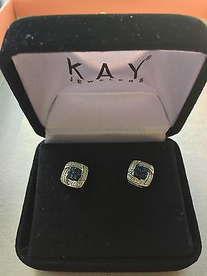Nearly New Kay Jewelers  Sterling Blue & White Diamond Studs Square Earring