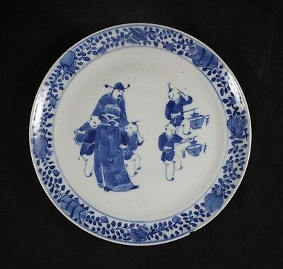 Antique Chinese Blue and White Porcelain Scholar and Boys Plate 19th Century