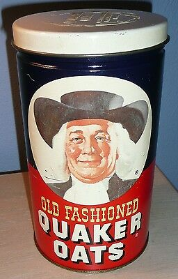 Vintage 1982 Old Fashioned Quaker Oats Limited Edition Tin Storage Can w/ Recipe
