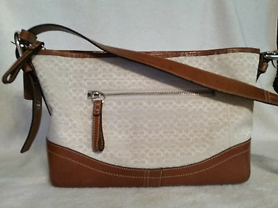 Coach brown leather and cream off white signature print shoulder crossbody bag