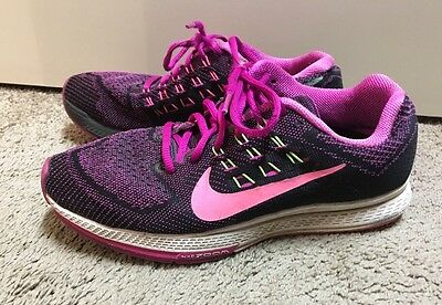Women's NIKE Air Zoom Structure 18 Purple Pink Black Running Shoes Size 9 GUC!