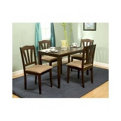 Dining Set 5 Pc Classic Modern Design Upholstered Chairs Table Kitchen Furniture