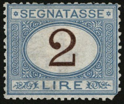 Italy 1870-1925 2L Postage Due Blue With Brown Numeral Sc J15 , Sg D34 , MH