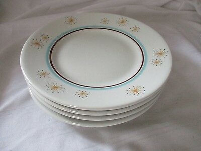 Shenango Atomic Starburst 4 bread butter side plates lot F13 aqua blue orange