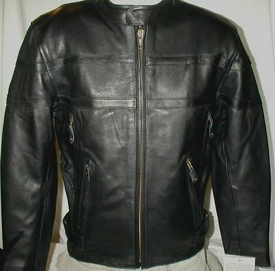 NEW $239 Mens 2XL Milwaukee Premium Naked Leather Vented Motorcycle Biker Jacket