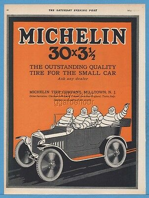 1920 Bibendum Michelin Man Milltown NJ Cords Car Auto Tire 30 x 3 1/2 Art Ad