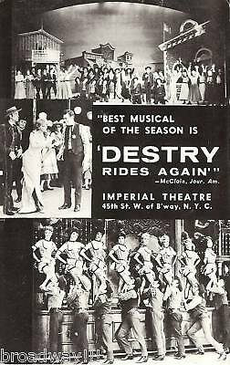 """Andy Griffith """"DESTRY RIDES AGAIN"""" Dolores Gray / Harold Rome 1959 Postcard"""