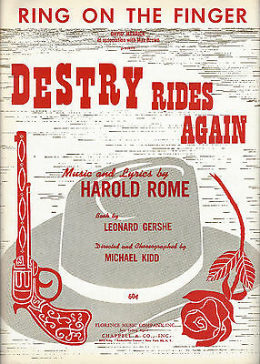 """Harold Rome """"DESTRY RIDES AGAIN"""" Dolores Gray / Andy Griffith 1959 Sheet Music"""