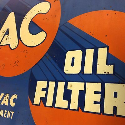 Vintage 1950's AC Delco Oil Filter Service Double-Sided Advertising Flange Sign