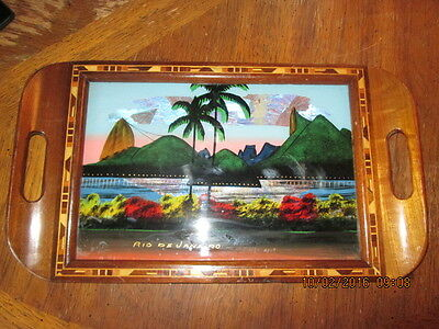 Vtg 1930's Inlaid Wood Morpho Blue Butterfly Wing Tray Rio de Janeiro Brazil