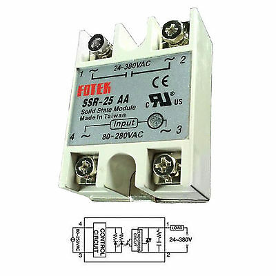 Output 24V-380VAC SSR-25AA 25A AC-AC Fotek Solid State Relay for Arduino