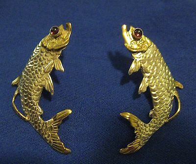 VINTAGE EARRINGS FISH - Handcrafted - 925 Sterling Silver W/ Stone - Signed