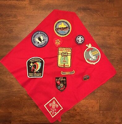 Lot Of 10 BSA Patches And Neckerchief Plus One Slide