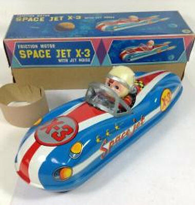 Tin Toy Masudaya Space Jet X-3 with box vintage Japan Hobby Friction 1960S 282