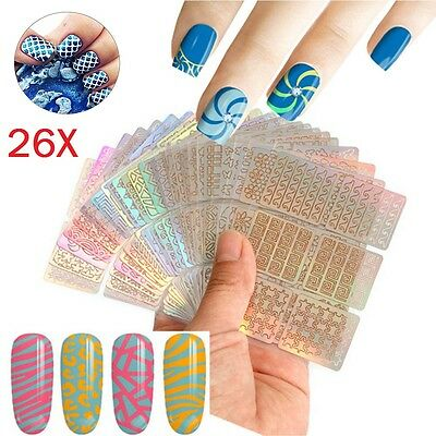 26PCS Sheets 3D Vinyl Hollow Nail Art Tip Stencil Guide Decal Manicure Stickers