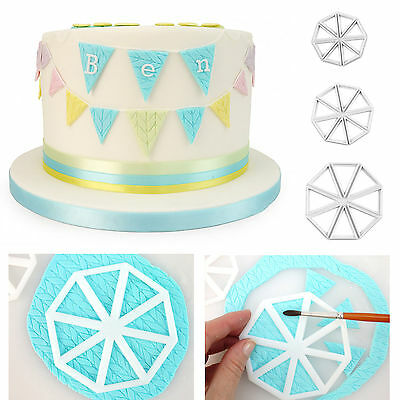Set of 3 Easy Bunting Cutters Icing FMM Fondant Sugarcraft Mould Cake Decorating