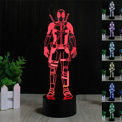 NEW 3D Deadpool LED Night Light 7 Color Table Desk Lamp Xmas Gift Toy