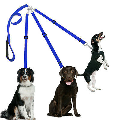 Blue No Tangle 3 Way Nylon Double Dog Leash Adjustable Leads with Padded Handle