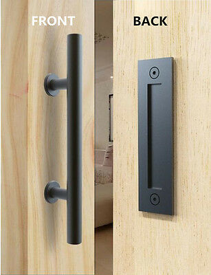 Stainless Steel Black Barn Door Handle and Pull Wooden sliding door handle Flush