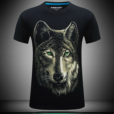 2017 Men's style 3D printing big face Wolf  black short sleeve T-shirt SIZE:XL