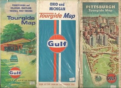 Gulf Orange Disc 3 Old USA Used Road Maps faulty