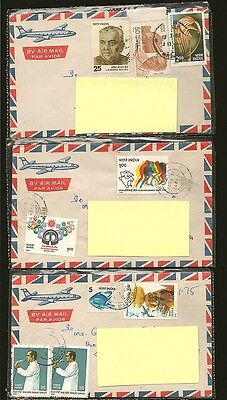India 3 1980s Multiple Stamp Airmail Covers to Canada