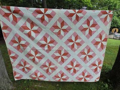 BEAUTIFUL VINTAGE QUILT ~STAR OF LEMOYNE~Pink & RED~70 X 86