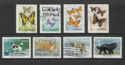 CANADA - 1988 Canadian Butterflies, Canadian Dogs, sets, used