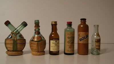 Lot of 6 Vintage Liquor Wine Bottles