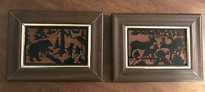 Two Vintage Framed Wildlife Silhouettes Deer Buck Doe & Fawn and Bear with Cubs