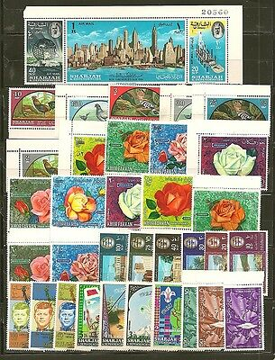 Sharjah & Dependencies 34 Older Mint Hinged Stamps
