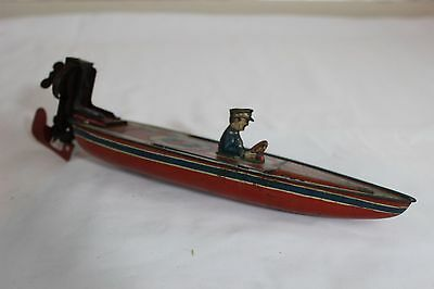 Antique 1930s PAYA SPAIN WIND UP TIN LITHO SPEED BOAT No Bing Tippco
