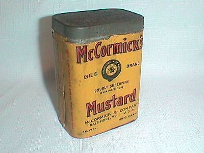 MCCORMICK's MUSTARD Spice TIN Paper Label BEE BRAND Double SUPERFINE Gold Medal