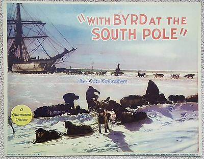 """""""with BYRD at the SOUTH POLE-Admiral Byrd/Antarctica-Lobby Card-1930-RARE!"""