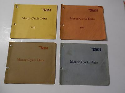 "4 Pre-Owned Original Vintage B.s.a. Motor Cycle ""data Books"" 1955,56,57 And 1960"