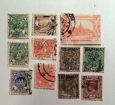 Postage stamps Burma Union lot of 10 old 3 overprint