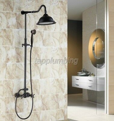 Black Oil Brass Wall Mounted Dual Cross Handle Shower Rainfall Faucet Set trs701