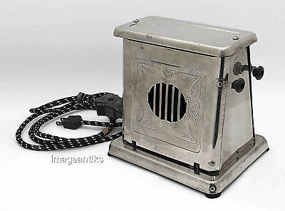 Antique Bersted Flopped Door Toaster Model #85 Art Deco Chrome Two Sided WORKS